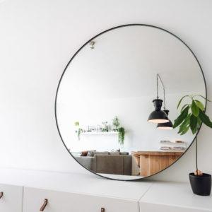 Ronde spiegel met stalen lijst matzwart gepoedercoat